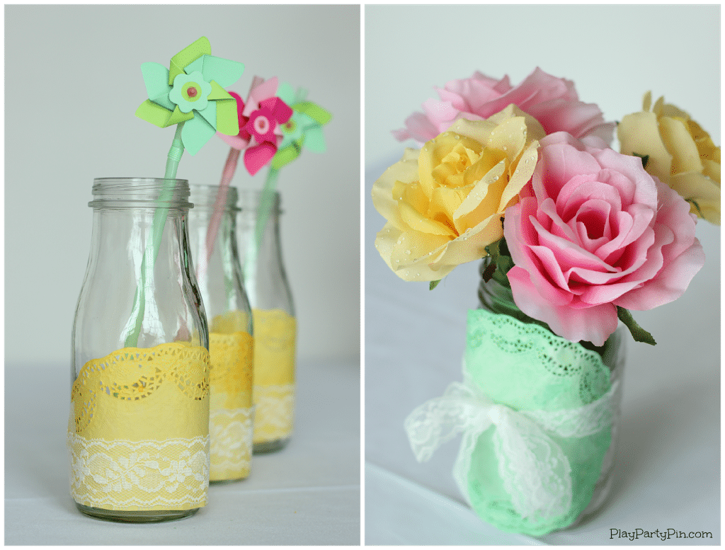 Simple spring baby shower decoration ideas from playpartyplan.com #babyshower #decorations #DIY #EviteBabyTrends #paid