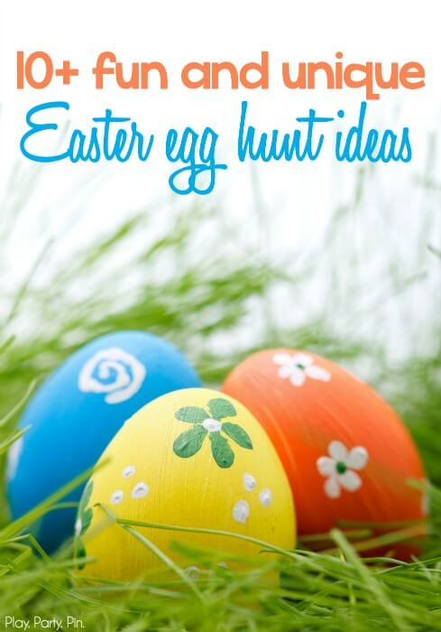Love these fun and unique Easter egg hunt ideas from www.playpartypin.com, great Easter Egg hunt ideas for older and younger kids!  I absolutely love #7!