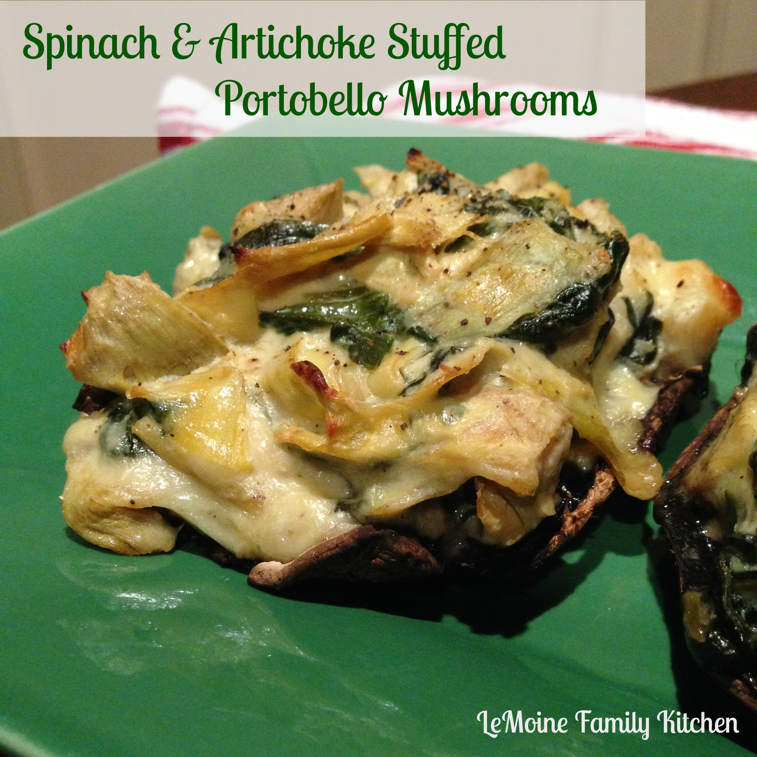 spinach dip portabello mushrooms with creamy spinach artichoke filling ...