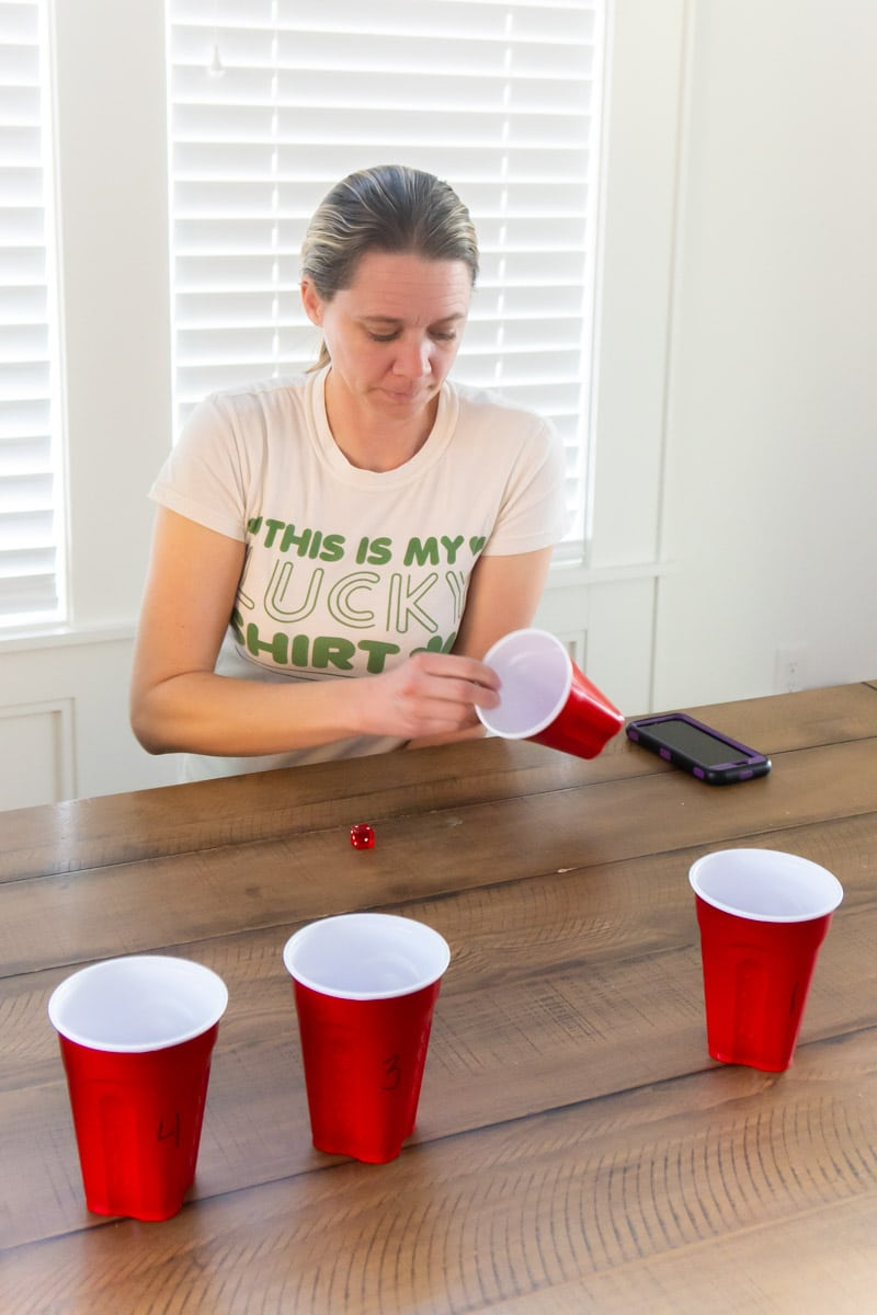 Woman playing St. Patrick's Day games for adults