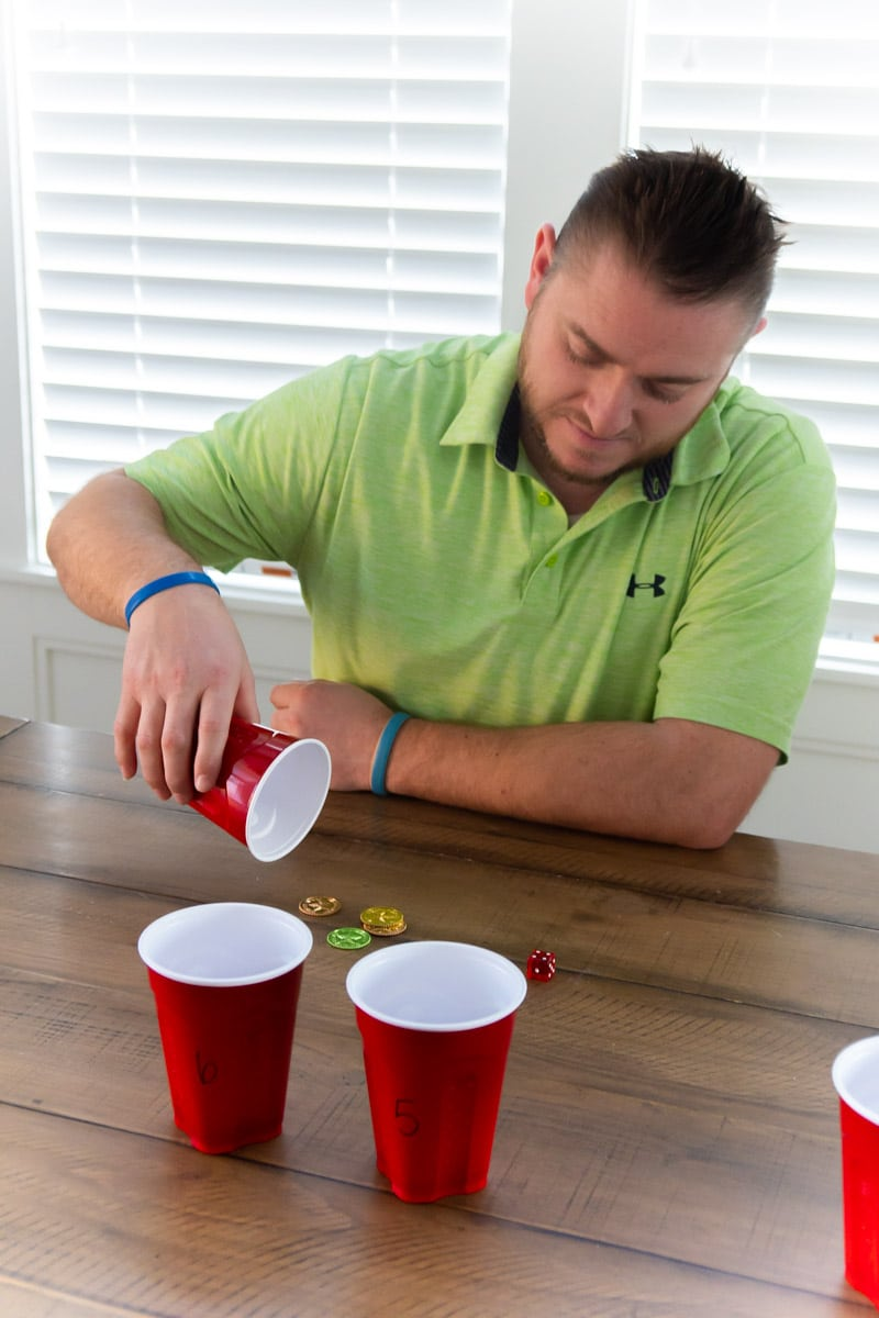 Man playing fun St Patrick's Day games for adults