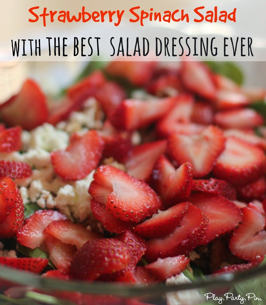 Strawberry spinach salad recipe with seriously one of the best homemade dressings ever from playpartyplan.com