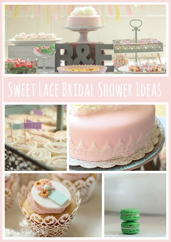 Tons of bridal shower ideas using lace, mason jars, and pastel colors from playpartyplan.com