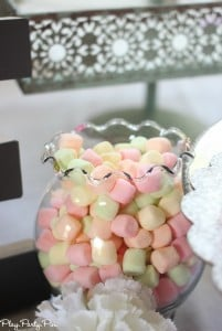 Colored marshmallows for bridal shower decoration