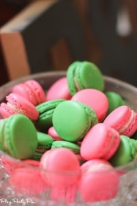 Pink and green macarons bridal shower macarons from playpartyplan.com