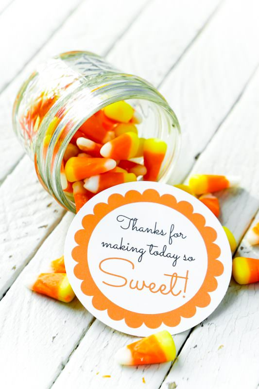 Use candy corn for fall baby shower favors