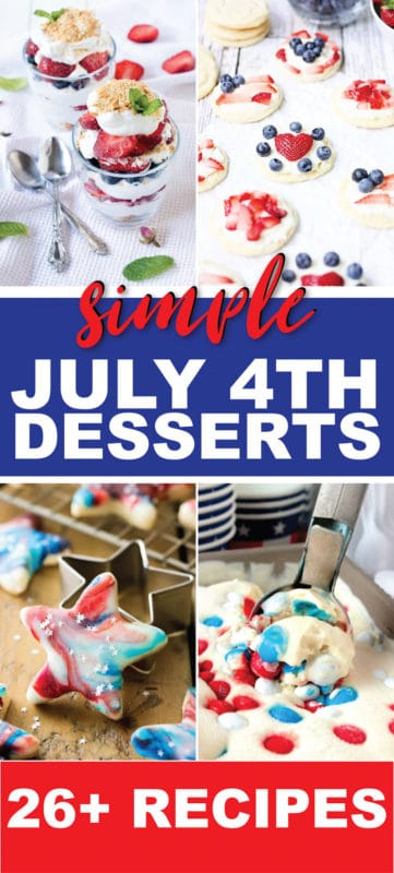 Fun and easy 4th of July desserts! Tons of great ideas including cake, cupcakes, no bake options, fruit pizza, cookies, and more! Ideas for kids, for a crowd, and and for a family party!