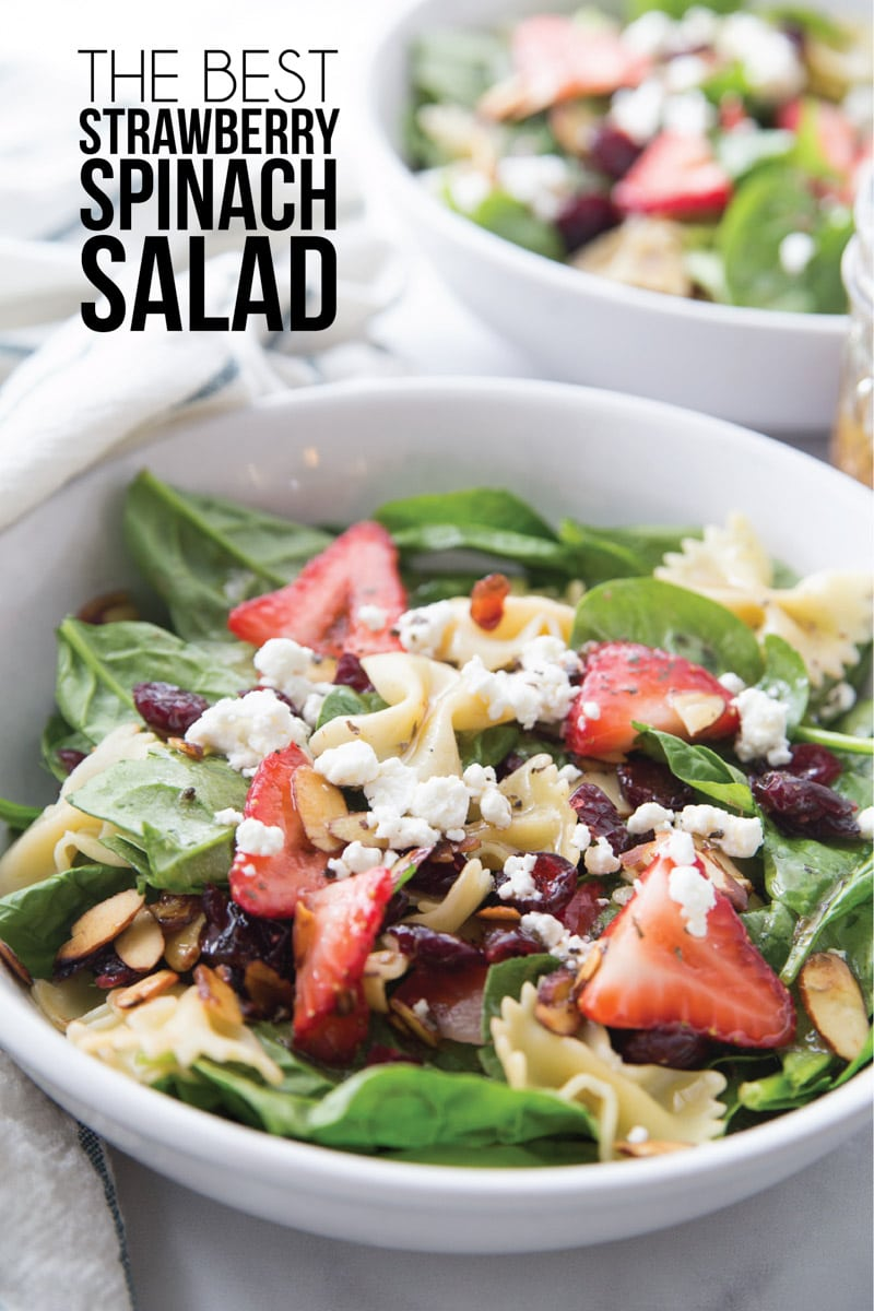A delicious spinach strawberry salad with a sweet dressing