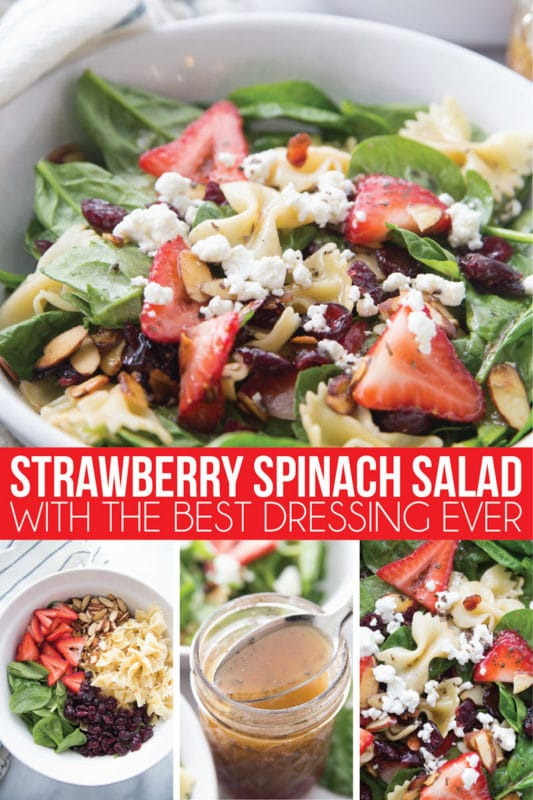 The best ever strawberry spinach salad recipe with an amazing vinaigrette! It's easy to make, can be made with chicken for a full meal, and is seriously so good! This strawberry spinach pasta salad with almonds that's a total winner!