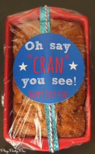 What a fun idea for 4th of July, cranberry orange bread with a cute free printable tag from playpartyplan.com