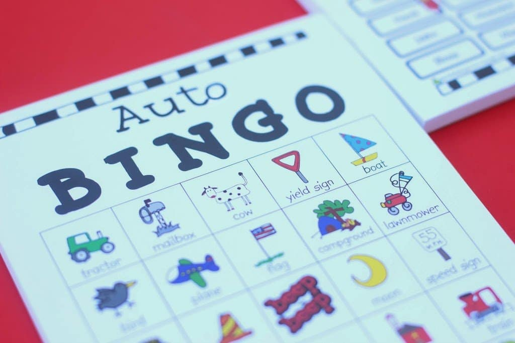Auto bingo cards from Expressionery on playpartypin.com