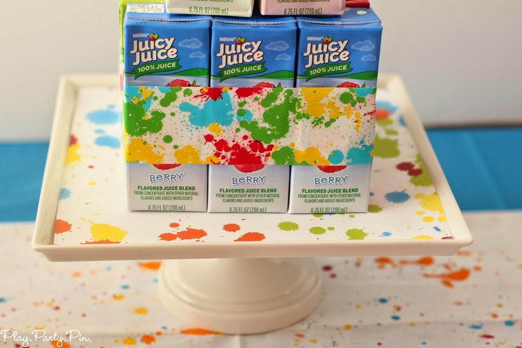 "What a fun idea for a ""cake"" made out of juice boxes"