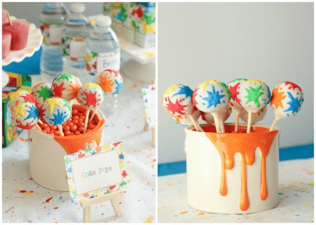 Splatter paint cake pops