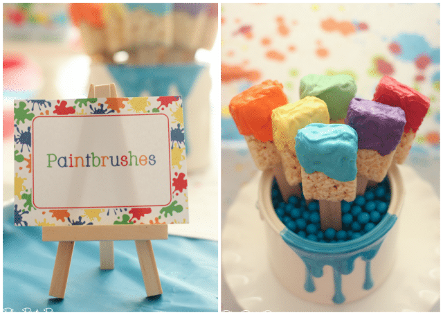 Rice krispy treat paintbrushes