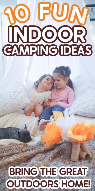 Kids enjoying indoor camping ideas