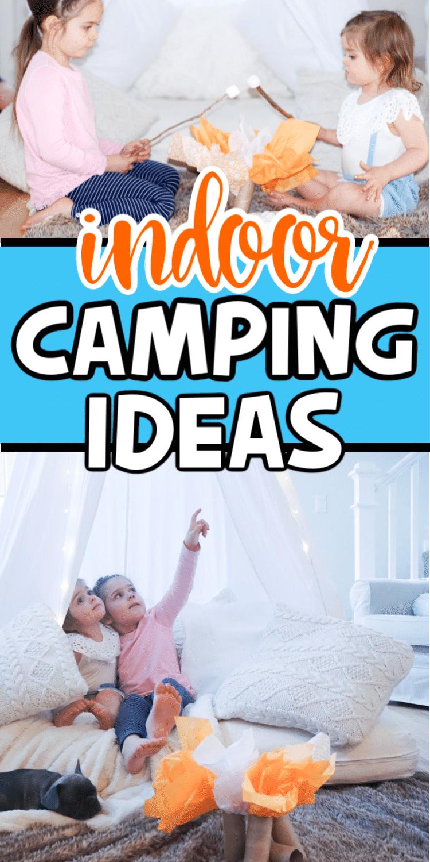 Girls enjoying indoor camping ideas