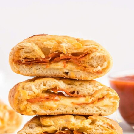 Stacked pizza loaf slices