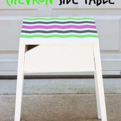 DIY Easy Painted Chevron Side Table Using ShapeTape