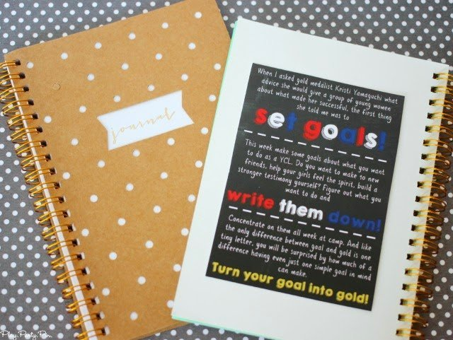 Journal and free printable setting goal handout for young women's camp handout from playpartyplan.com