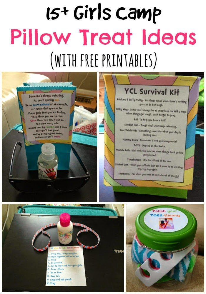 15+ girls (or YW) camp pillow treat ideas with free printables from playpartyplan.com
