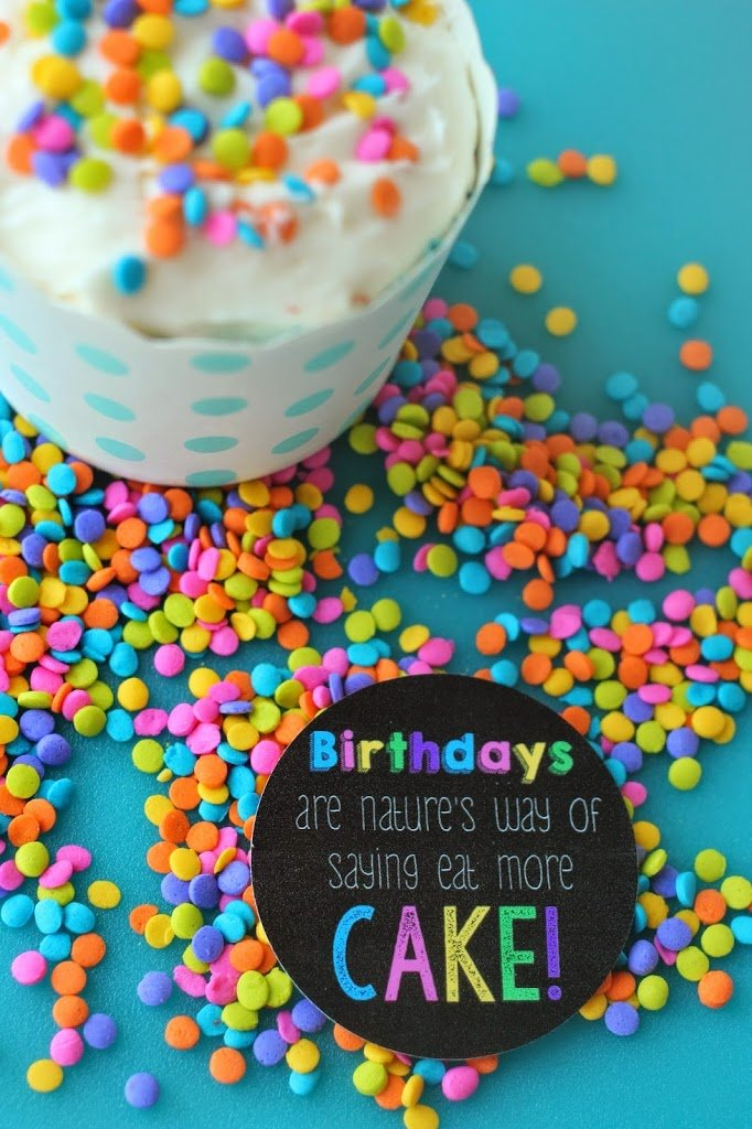 Free printables for birthday gift, give a friend a cupcake with this tag