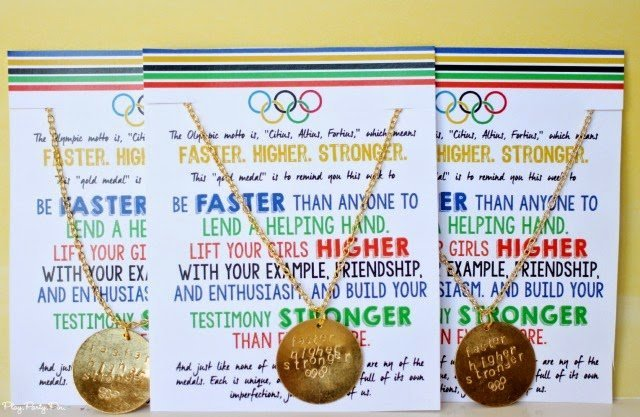Olympic motto necklaces with leadership tie in and a free printable handout from playpartyplan.com, perfect for young women's lesson or camp