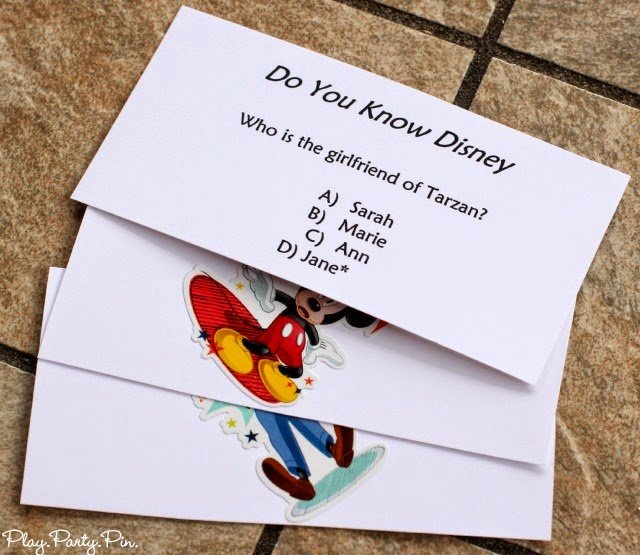 Free printable Disney board game and trivia questions from playpartyplan.com