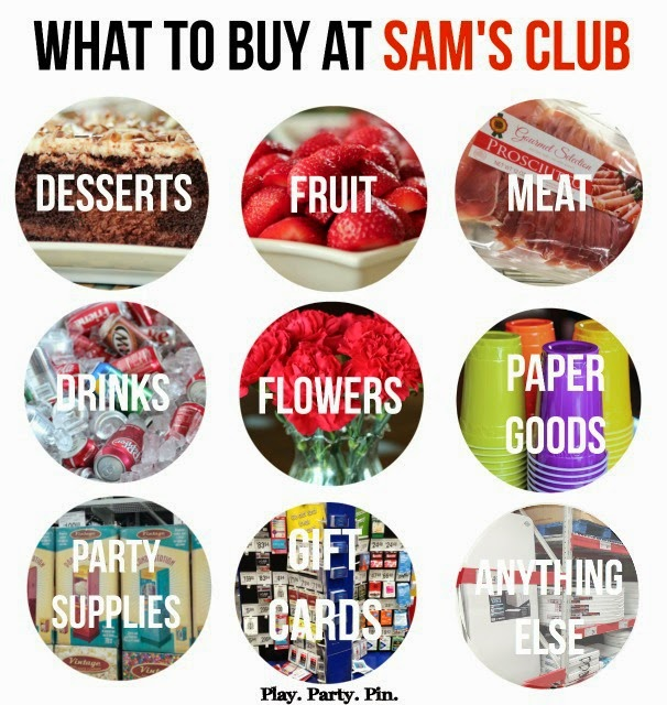 The best things to buy at Sam's Club for planning a party, great cheat sheet from playpartyplan.com