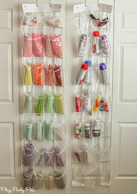 Store striped straws in an over the door shoe holder, great idea from playpartyplan.com