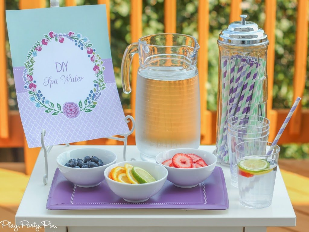 Lovely in lavender diy spa party playrtyan since this was a diy party i setup a diy spa water station complete with ice water fresh fruit and of course striped straws that i bought from painting solutioingenieria Gallery