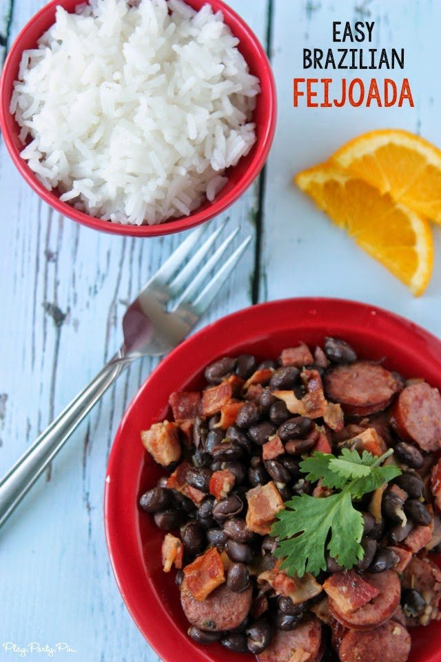 Bacon, sausage, black beans, and rice make this Brazilian feijoada the perfect comfort food, recipe from playpartyplan.com