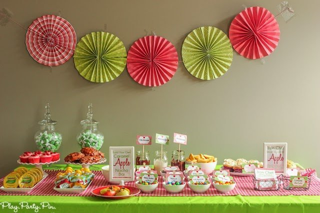 Apple party ideas including a caramel apple nacho bar and candy apple cupcakes from playpartypin.com #FlavorOfFall #shop