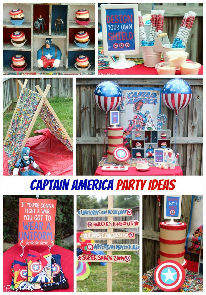 Captain America party ideas from playpartyplan.com, absolutely love the costume table, tent, and sign!
