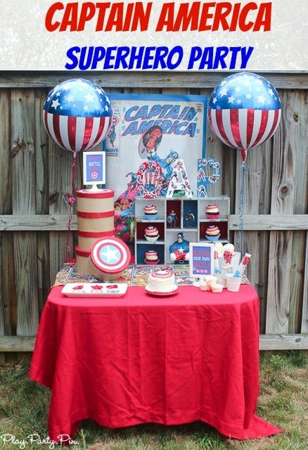 Captain America superhero party ideas from playpartyplan.com #HeroesEatMMs #shop