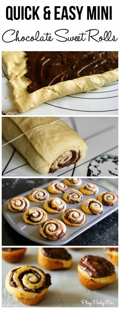 Mini chocolate sweet rolls made in under 20 minutes from playpartyplan.com