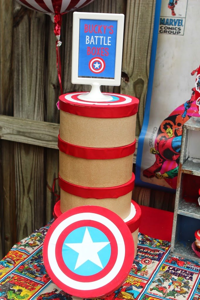 Love this fun Captain America idea - shields turned into lunch boxes!