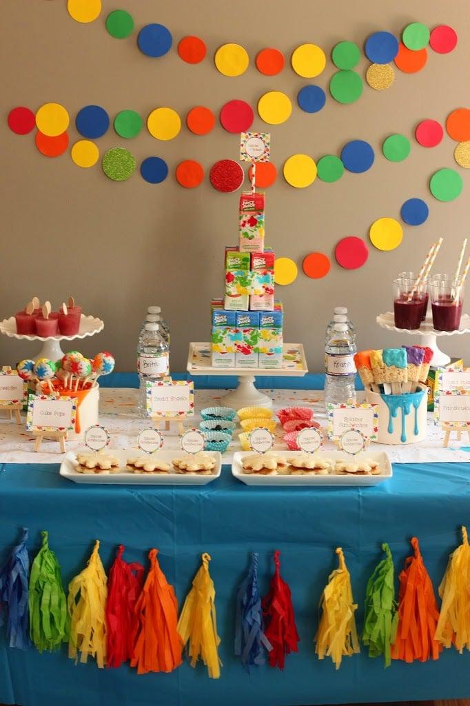 Splatter paint and art party ideas for Art deco party decoration ideas