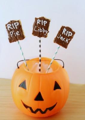 Homemade Rice Krispy Treat Tombstones and Halloween Blog Hop