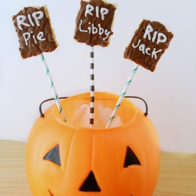 Homemade Rice Krispy Treat Tombstones and Halloween Blog Hop
