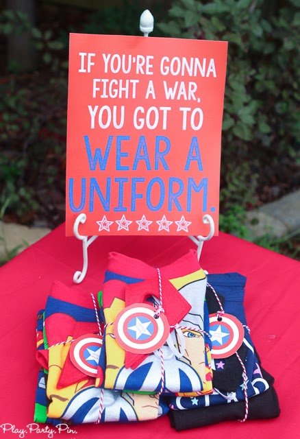 Superhero costume station idea from playpartyplan.com