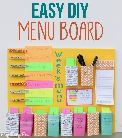 DIY weekly menu board from playpartypin.com - combination meal planner ...