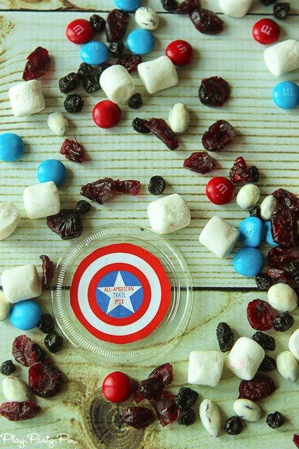 All-American trail mix recipe from playpartypin.com including lots of red, white, and blue goodies
