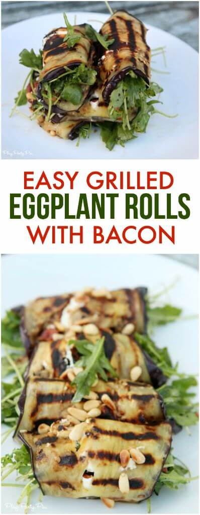 These grilled eggplant rolls from playpartyplan.com sound amazing, love the combination of the grilled eggplant with goat cheese, bacon, and pine nuts. Perfect weeknight dinner ideas!
