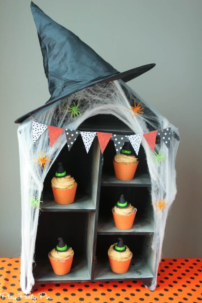 Halloween party cupcake display from wood house