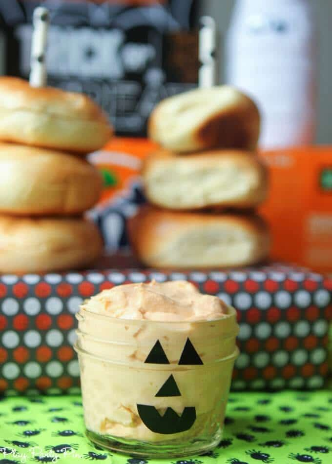 Pumpkin cream cheese with pumpkin face