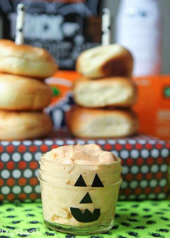 Pumpkin cream cheese with pumpkin face