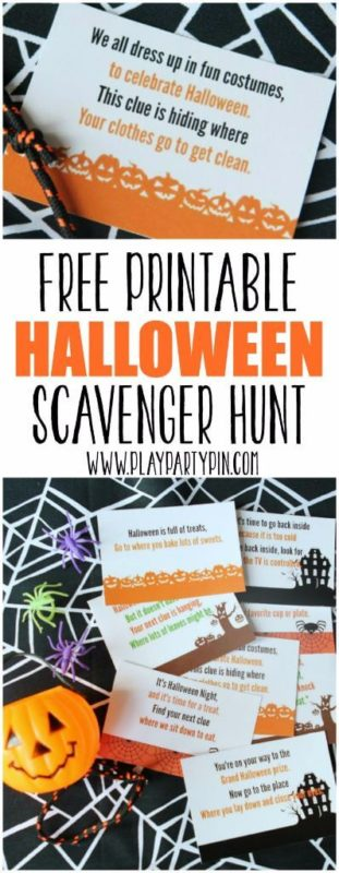 Love this free printable Halloween scavenger hunt from www.playpartyplan.com, my kids would love this Halloween party game!
