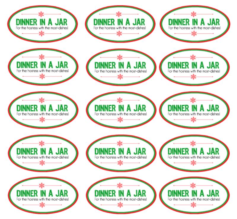 Free printable dinner in a jar labels