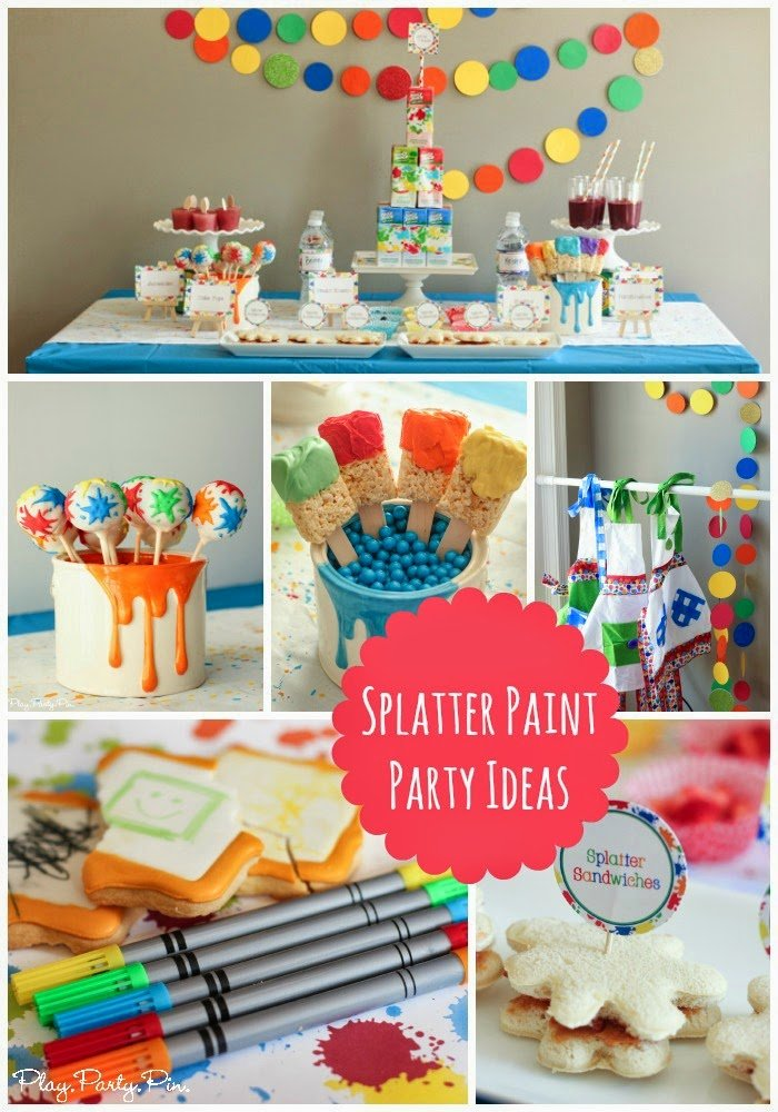 Splatter paint party ideas from playpartyplan.com