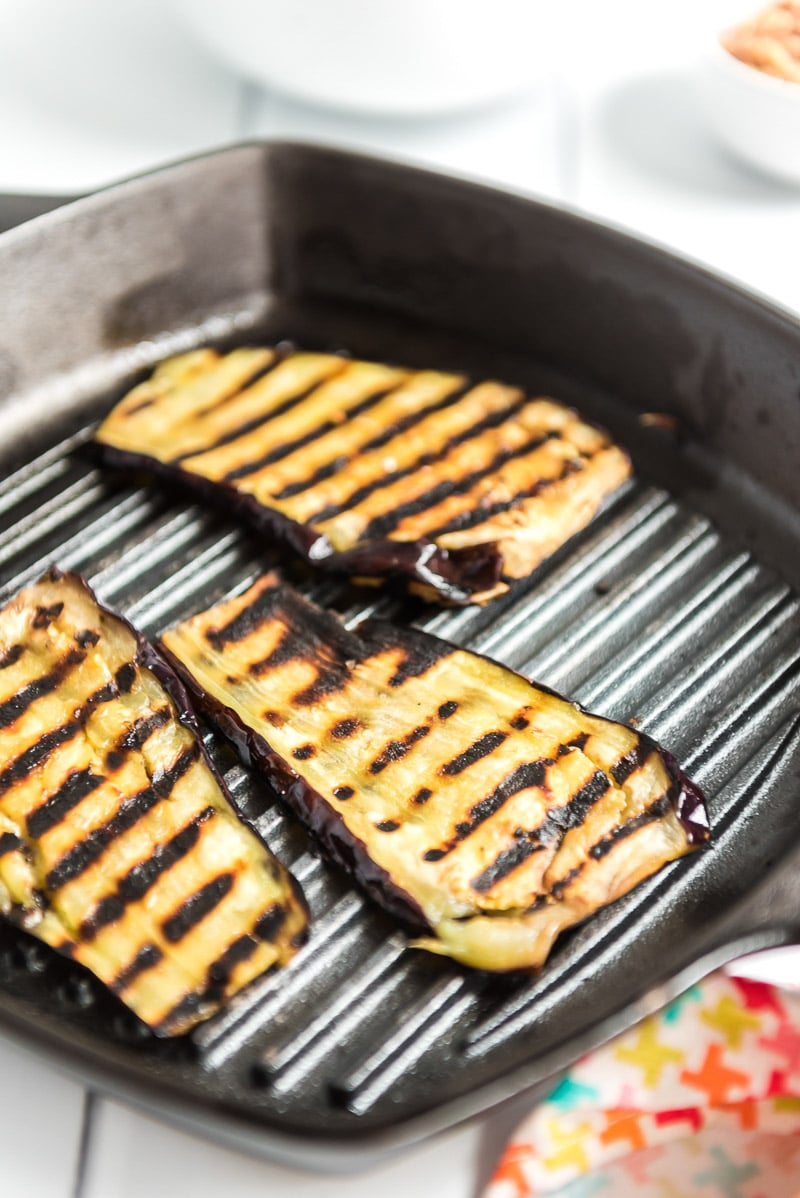 sliced eggplant on a grill pan
